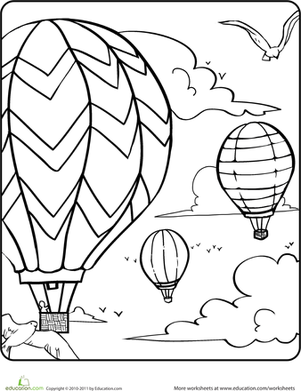 Kindergarten Holidays & Seasons Worksheets: Hot Air Balloons in the Sky Coloring Page