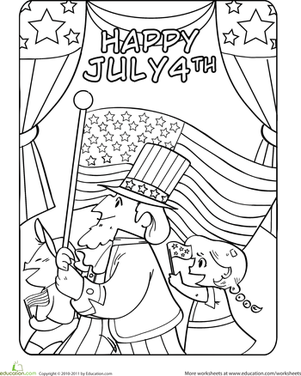 Kindergarten Holidays & Seasons Worksheets: Fourth of July Parade Coloring Page