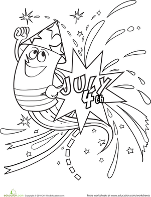 Kindergarten Holidays & Seasons Worksheets: Fireworks Coloring Page