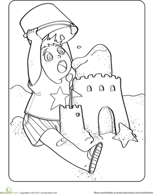 Kindergarten Holidays & Seasons Worksheets: Sand Castle Coloring Page