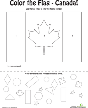 Canadian Flag Coloring Page Worksheet Educationcom