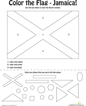 Preschool Social Studies Worksheets: Color the Flag: Jamaica