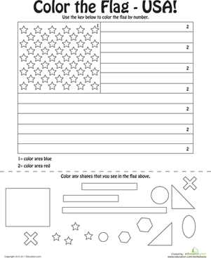 Preschool Social Studies Worksheets: U.S. Flag Coloring Page