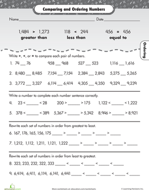 Free Worksheets » Comparing And Ordering Numbers Worksheets 4th ...