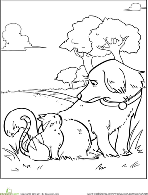 Kindergarten Coloring Worksheets: Color the Dog and Cat Friends