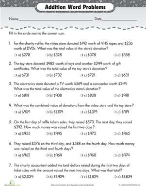 raffle time addition word problems worksheet. Black Bedroom Furniture Sets. Home Design Ideas