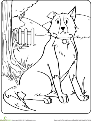 Kindergarten Coloring Worksheets: Dog Coloring Page