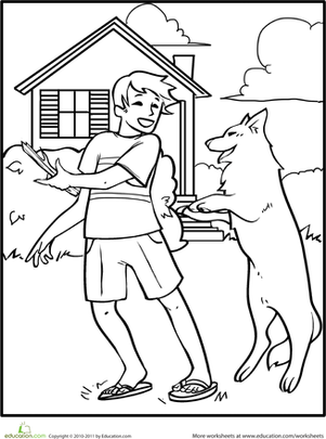 Kindergarten Coloring Worksheets: Color the Game of Catch