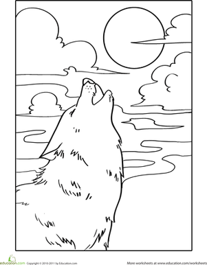 Kindergarten Coloring Worksheets: Howling Wolf Coloring Page