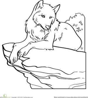 Kindergarten Coloring Worksheets: Color the Wolf