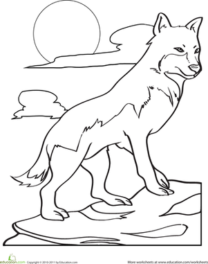 Kindergarten Coloring Worksheets: Color the Hunting Wolf