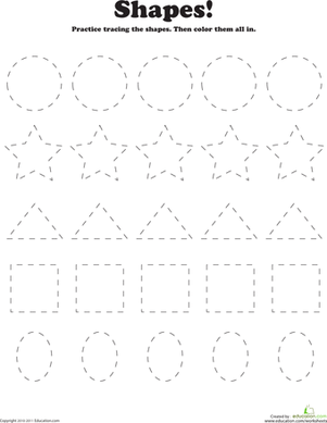 trace and color shapes worksheet. Black Bedroom Furniture Sets. Home Design Ideas