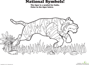 Preschool Coloring Worksheets: India National Animal