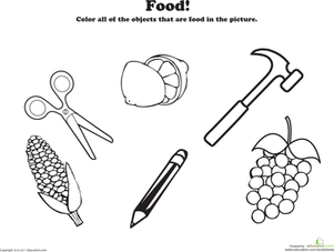 Preschool Science Worksheets: Color the Food