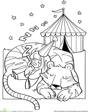 Kindergarten Coloring Worksheets: Circus Tiger Coloring Page