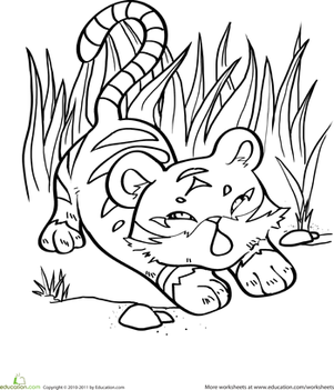 Kindergarten Coloring Worksheets: Tiger Cub Coloring Page