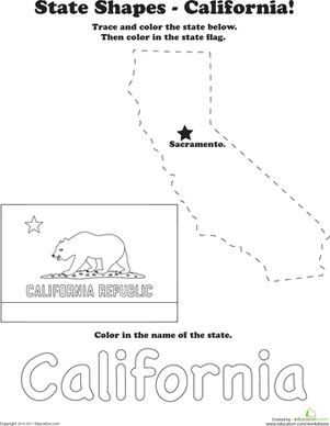 First Grade Coloring Worksheets: California Outline Tracing