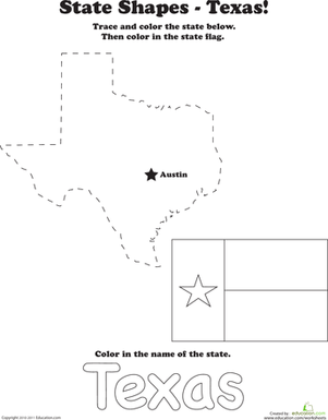 First Grade Social Studies Worksheets: Trace the Outline of Texas