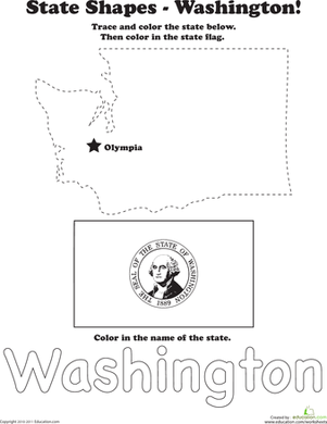 First Grade Social Studies Worksheets: Trace the Outline of Washington