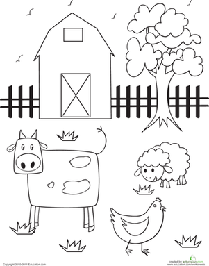 Preschool Coloring Worksheets Barn Page