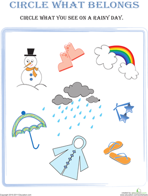 Preschool Math Worksheets: Circle What Belongs: Rainy Day
