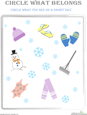 Preschool Math Worksheets: Circle What Belongs: Snowy Day