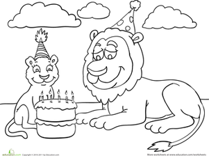 Kindergarten Holidays & Seasons Worksheets: Birthday Coloring: Lion Party
