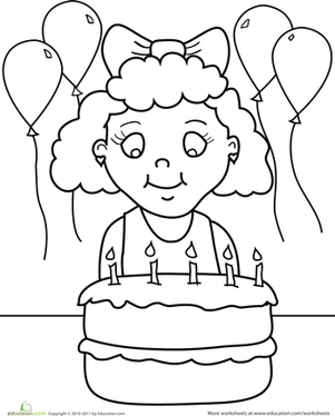 Kindergarten Holidays & Seasons Worksheets: Birthday Coloring: Birthday Girl