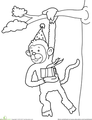 Preschool Holidays & Seasons Worksheets: Birthday Coloring: Monkey