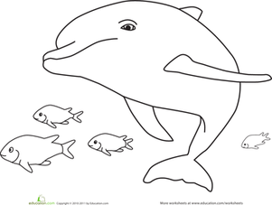 Preschool Coloring Worksheets: Swimming Dolphin Coloring Page