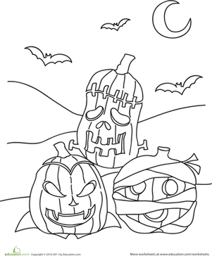 Kindergarten Holidays & Seasons Worksheets: Color the Jack O' Lantern Trio