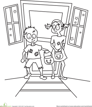 Kindergarten Holidays & Seasons Worksheets: Color the Zombie Trick-or-Treaters