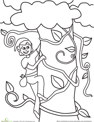 Kindergarten Coloring Worksheets: Jack and the Beanstalk Coloring Page