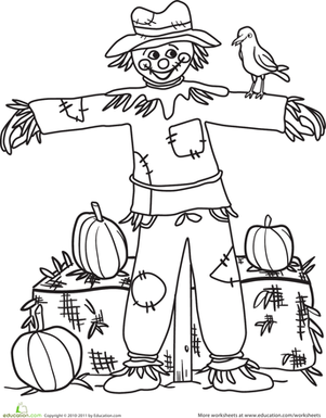 Kindergarten Holidays & Seasons Worksheets: Color the Happy Scarecrow