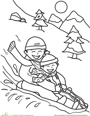 kindergarten holidays seasons worksheets sledding coloring page