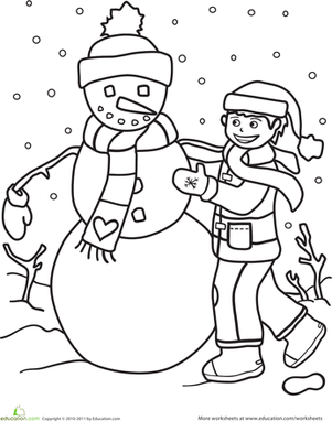 Kindergarten Holidays & Seasons Worksheets: Color the Snowman