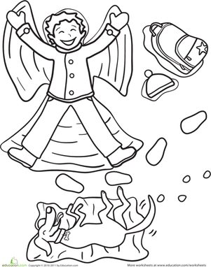 Preschool Holidays & Seasons Worksheets: Snow Angel Coloring Page