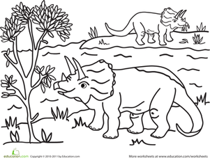First Grade Coloring Worksheets: Triceratops Coloring Page