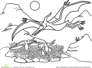 Kindergarten Coloring Worksheets: Color the Pteranodon Mommy and Babies