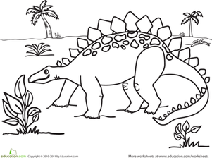 Kindergarten Coloring Worksheets: Color the Snacking Stegosaurus