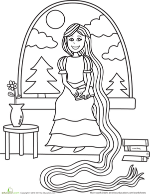 Preschool Coloring Worksheets: Color Rapunzel in the Tower