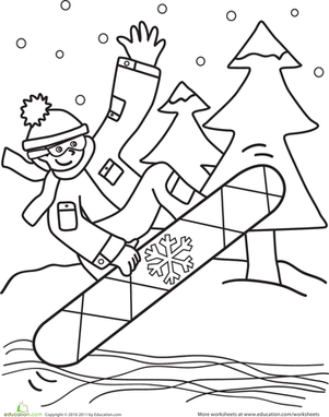 Kindergarten Holidays & Seasons Worksheets: Snowboarder Coloring Page