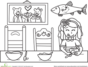 Kindergarten Coloring Worksheets: Color the Goldilocks Scene