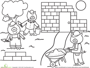Preschool Coloring Worksheets: Color the Building Pigs