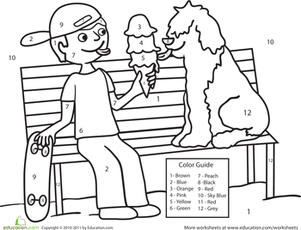 Kindergarten Math Worksheets: Color by Number Ice Cream Scene