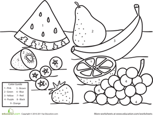 Preschool Math Worksheets: Color by Number Fruit
