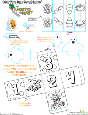 Preschool Holidays & Seasons Worksheets: Halloween Board Game