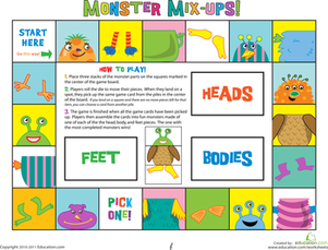 Preschool Offline games Worksheets: The Mix Up Monsters