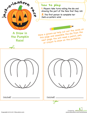 Preschool Offline games Worksheets: Jack-o'-Lantern Face Race