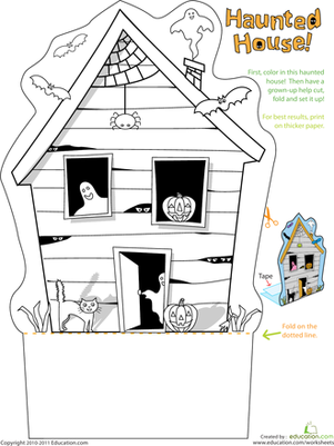 Preschool Arts & crafts Worksheets: Haunted House Worksheet